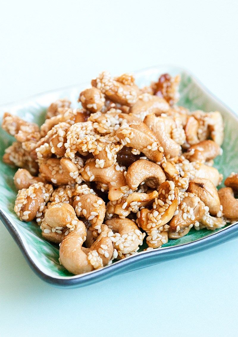 Heta cashewnötter med sesamfrön