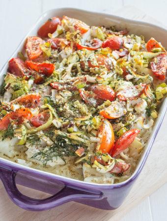 Ugnsbakad torsk med ris och lök