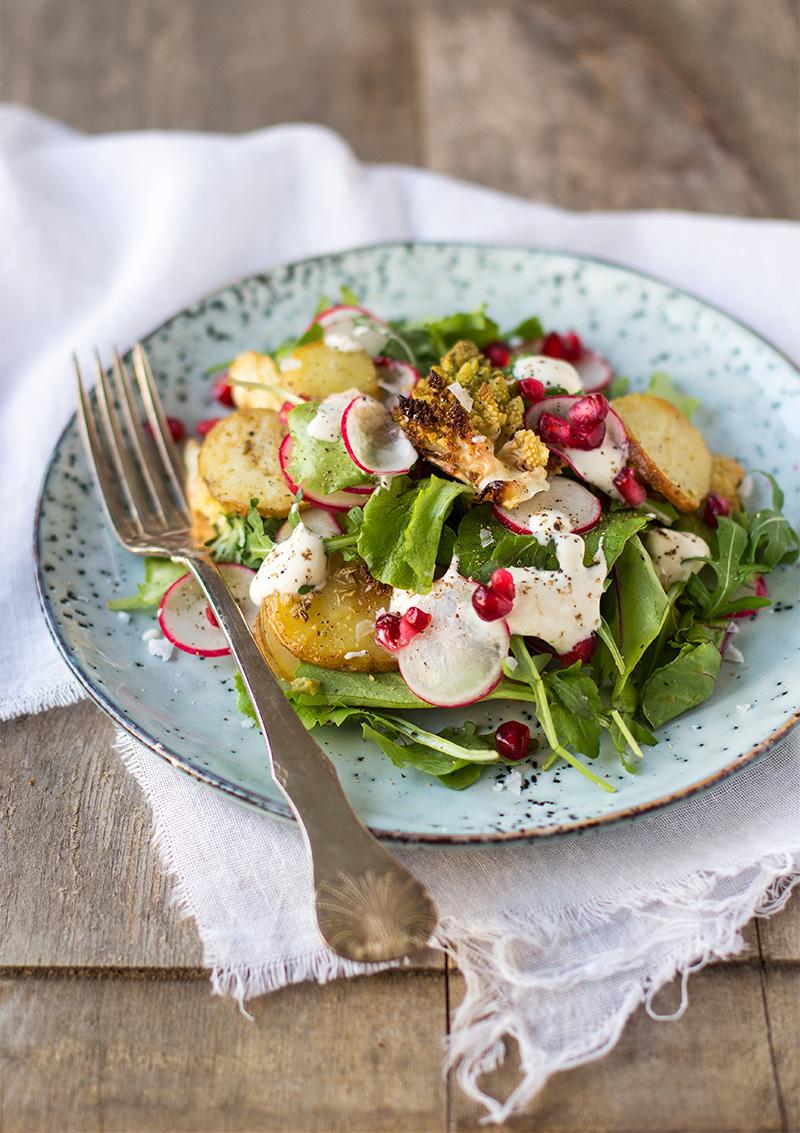 Fänkål- och salviarostad potatis och blomkål
